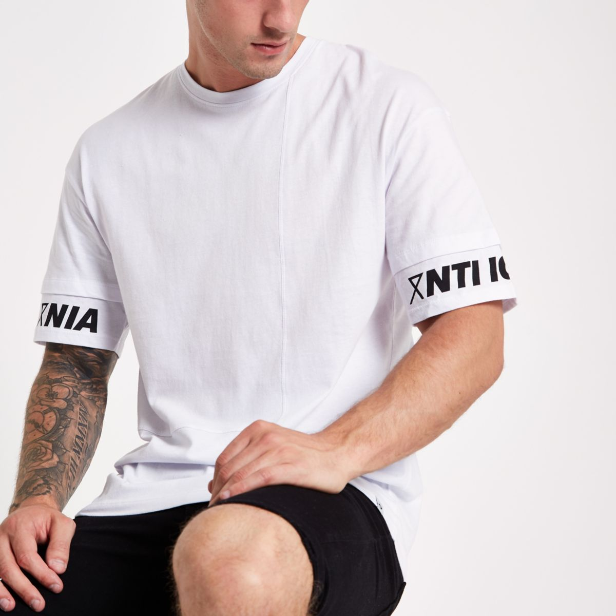 Jack & Jones Core white print sleeve T-shirt