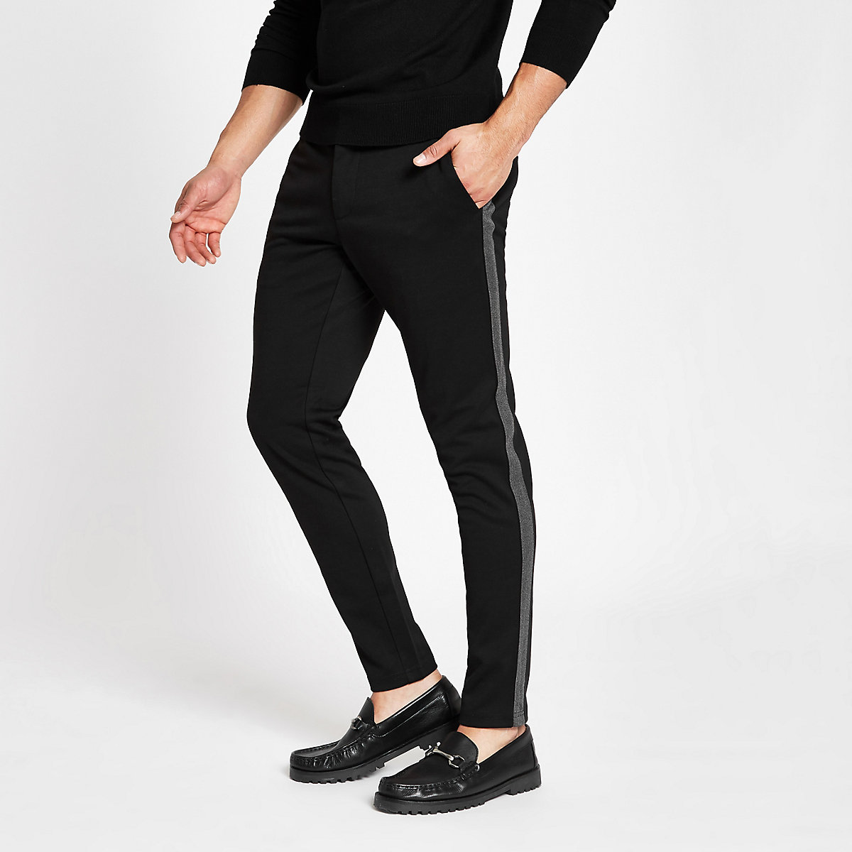 Only & Sons black tape trousers