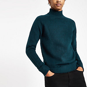 Only & Sons navy knit high neck jumper