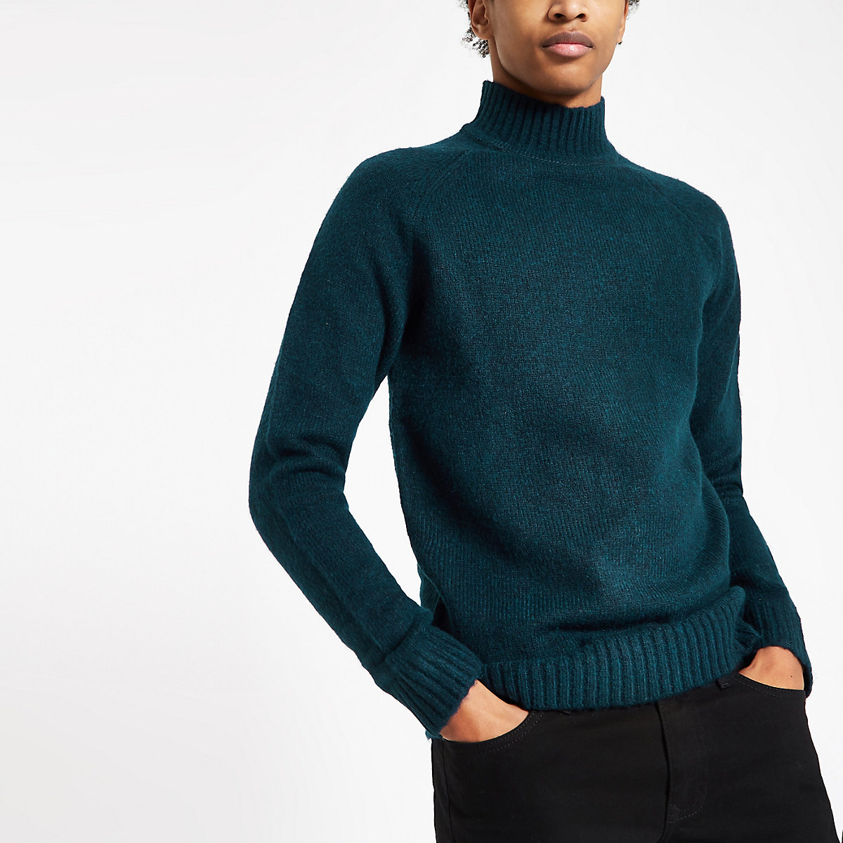 Only & Sons navy knit roll neck jumper