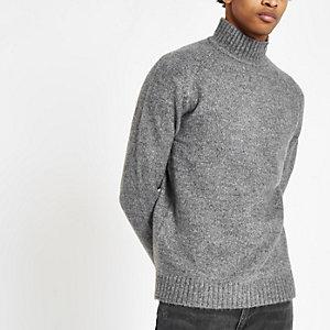 Only & Sons - Grijze gebreide hoogsluitende pullover