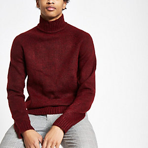 Only & Sons dark red knit high neck sweater