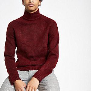 Only & Sons - Donkerrode gebreide hoogsluitende pullover