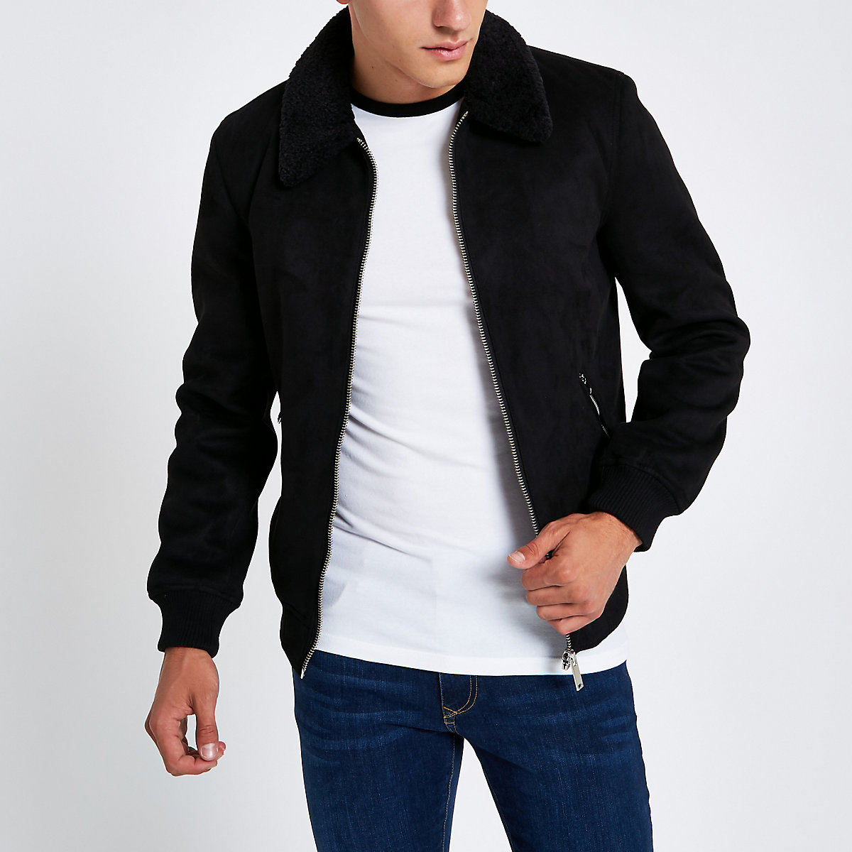 Black faux suede borg collar jacket