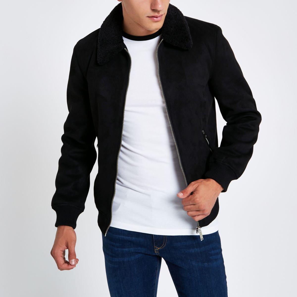 Black faux suede fleece collar jacket