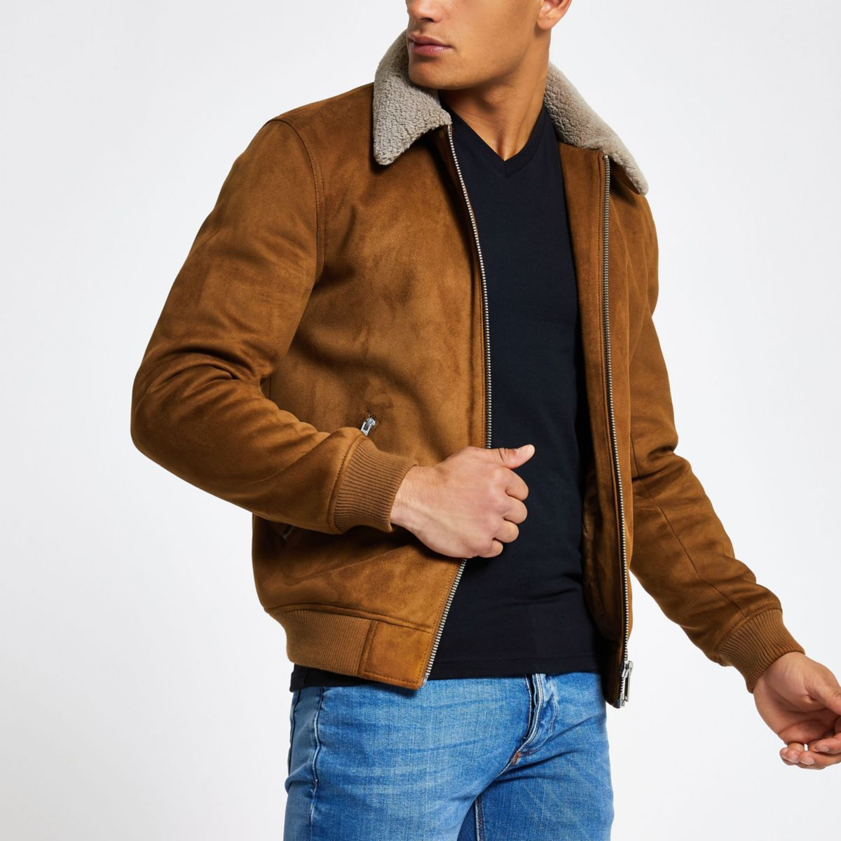 Light brown faux suede fleece collar jacket