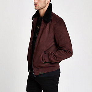 Dark red faux suede fleece collar jacket