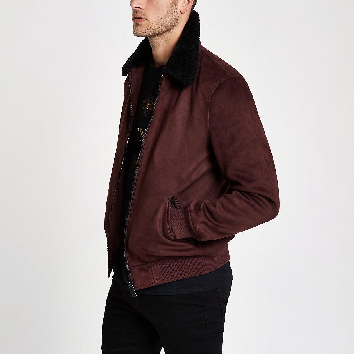 Dark red faux suede fleece collar jacket