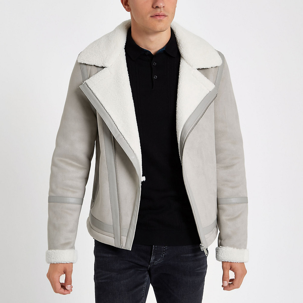 Grey fleece lined biker jacket