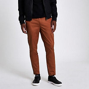 Skinny Fit Chino-Hose in Koralle