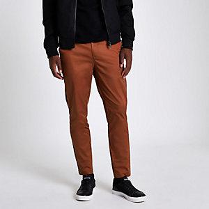 Pantalon chino skinny corail