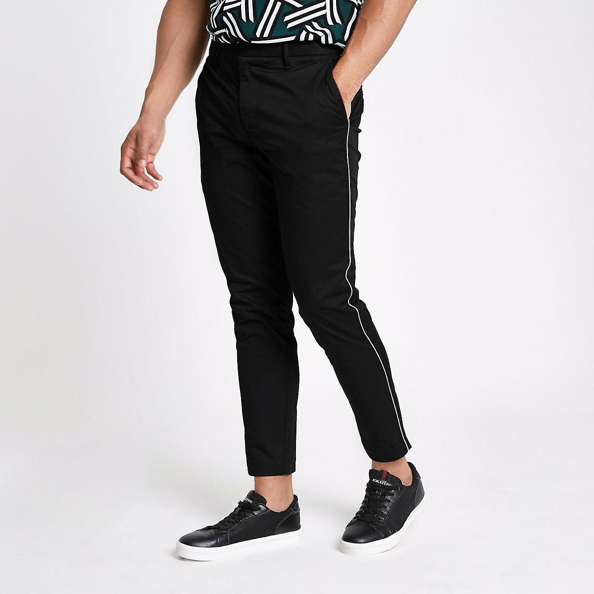Black pipe skinny fit chino pants