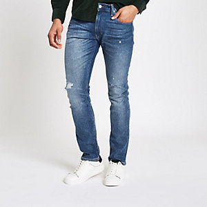 Lee blue slim fit ripped tapered Luke jeans