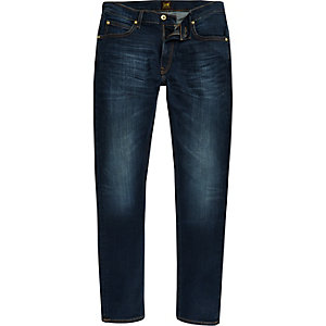 Lee - Luke - Donkerblauwe smaltoelopende slim-fit jeans