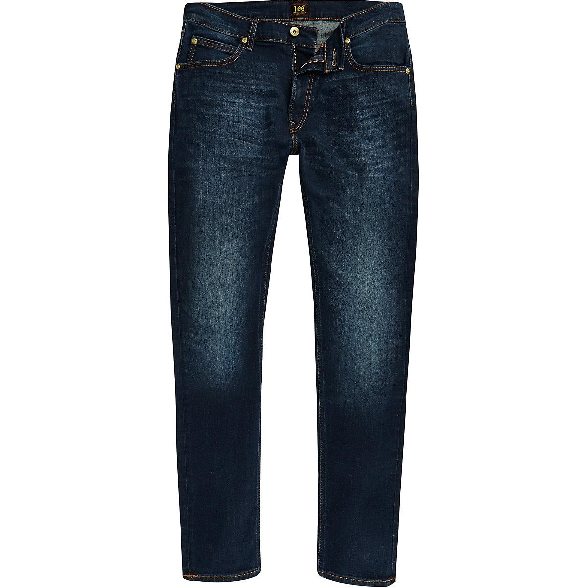 Lee dark blue Luke slim fit tapered jeans