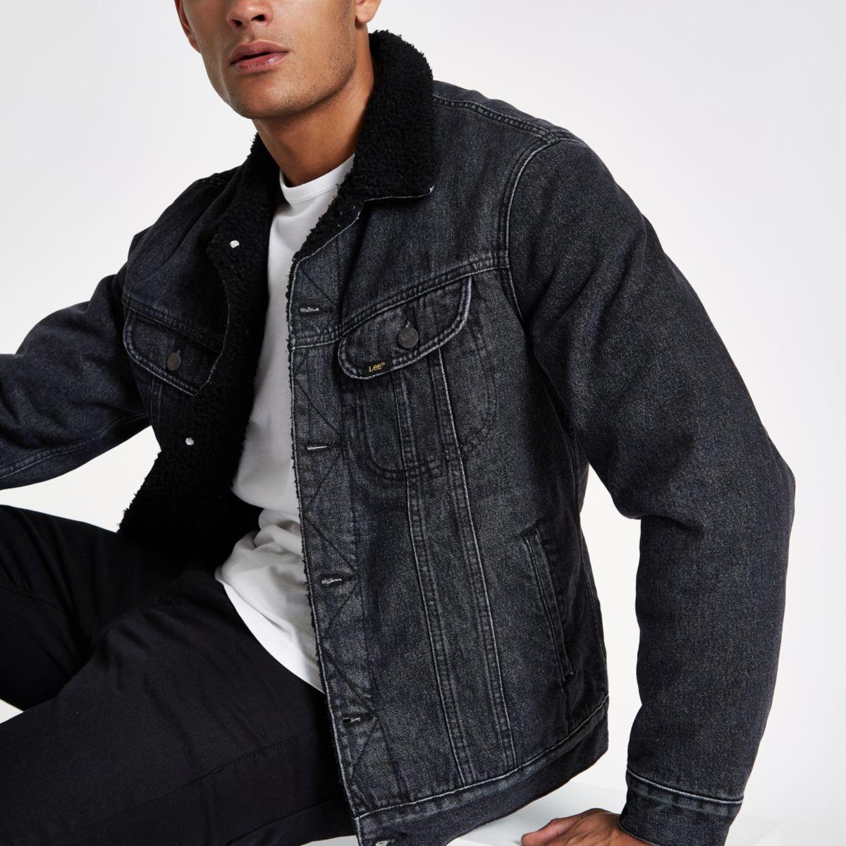 Lee black fleece collar denim jacket