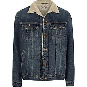 Lee – Blaue Jeansjacke mit Fellkragen