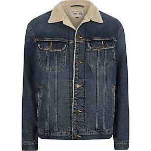 Lee blue fleece collar denim jacket