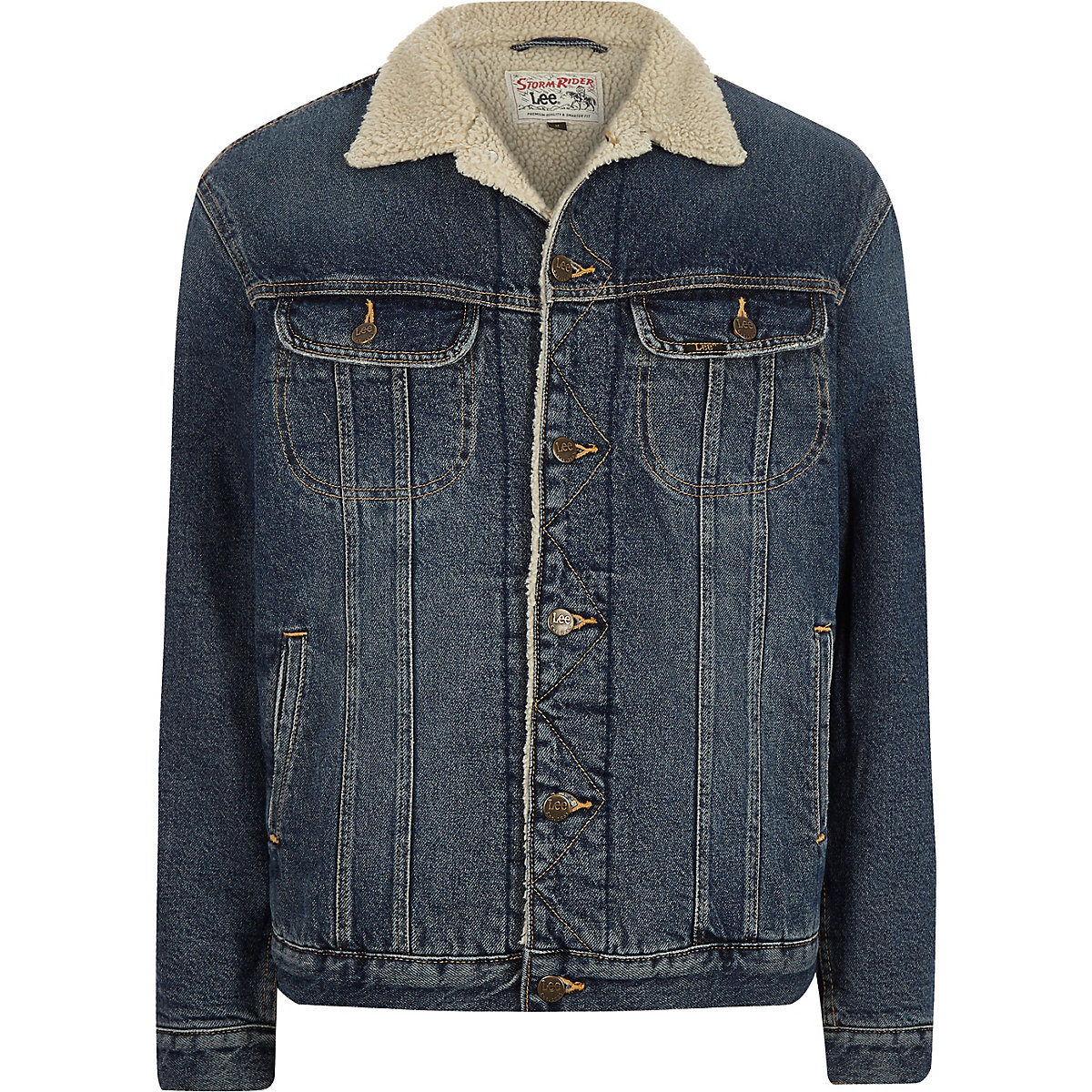 Lee blue fleece collar denim jacket