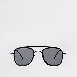 Black square brow aviator sunglasses