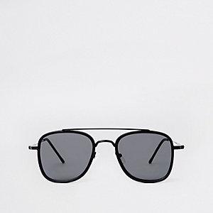 Zwarte vierkante pilotenzonnebril met wenkbrauwbalk