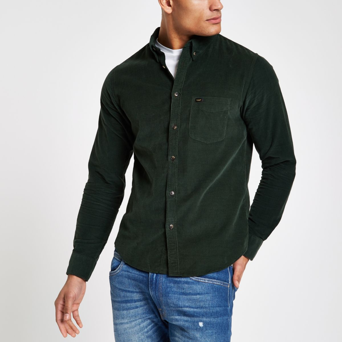 Lee green long sleeve cord shirt