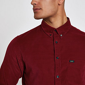 Lee – Rotes, langärmliges Cord-Hemd