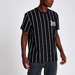 Lee - Zwart gestreept T-shirt met ronde hals