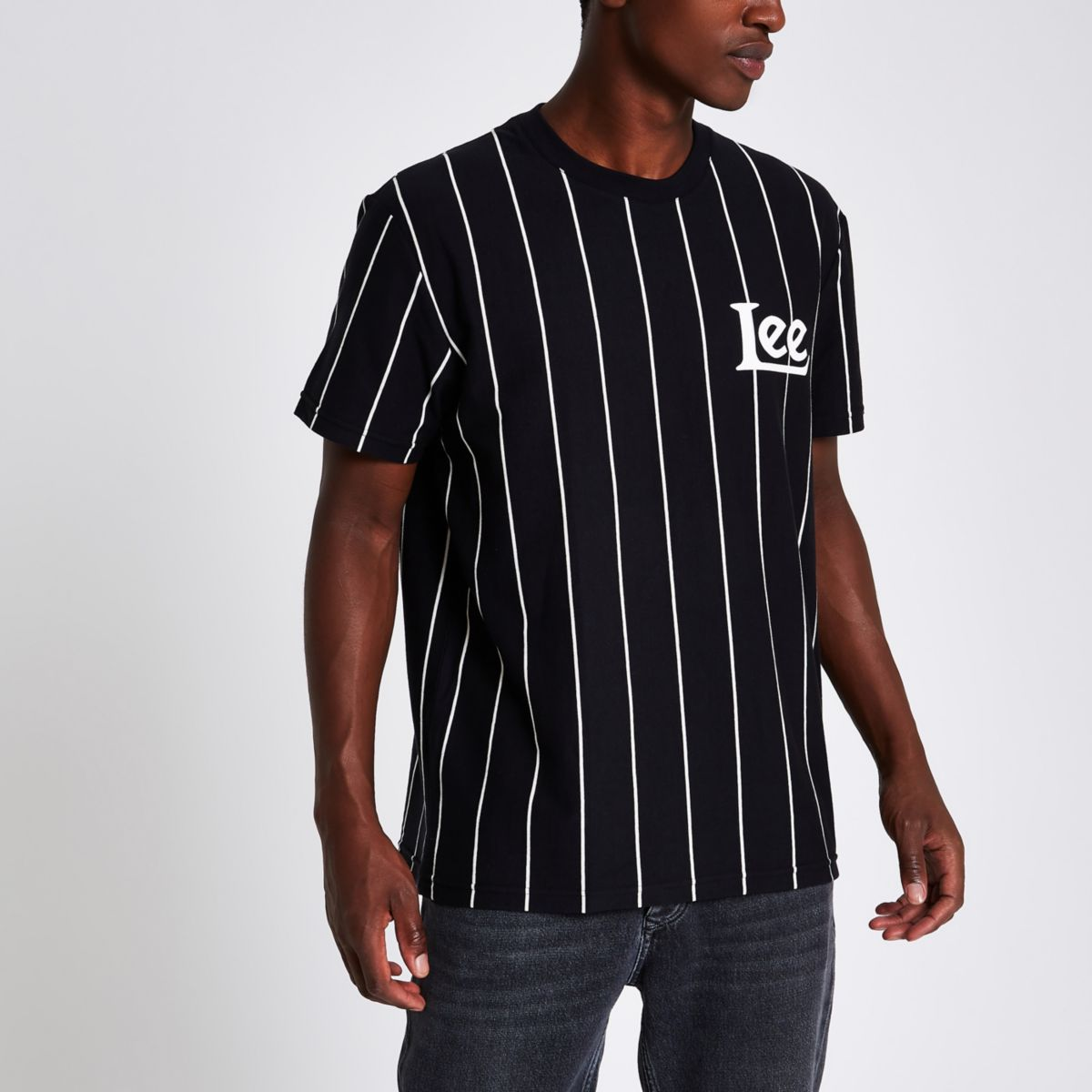 Lee black stripe crew neck T-shirt