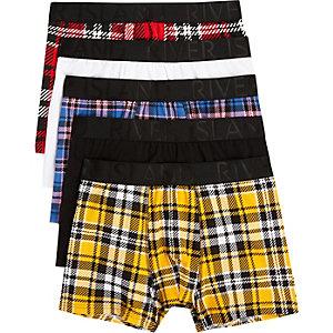 Multipack rode geruite strakke boxers met print