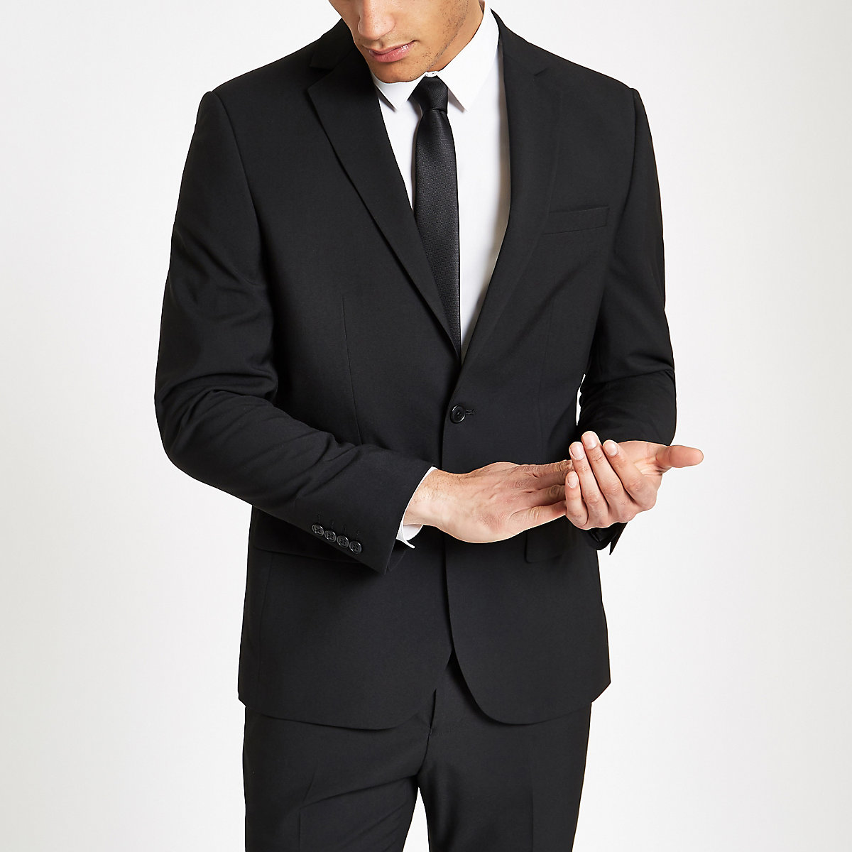 Black tailored fit suit jacket