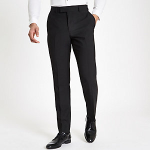 Black tailored suit pants