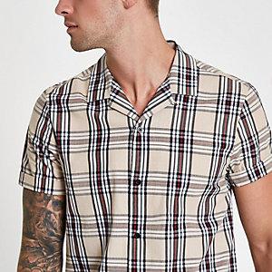 Ecru geruit overhemd met revers en print