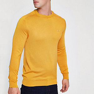 Yellow slim fit crew neck jumper