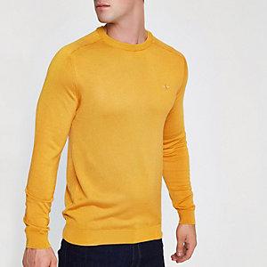 Gele slim-fit pullover met ronde hals