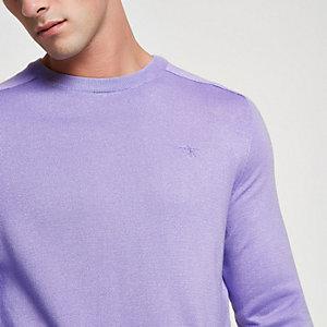 Paarse slim-fit pullover met ronde hals