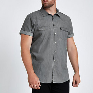 Big and Tall grey denim shirt