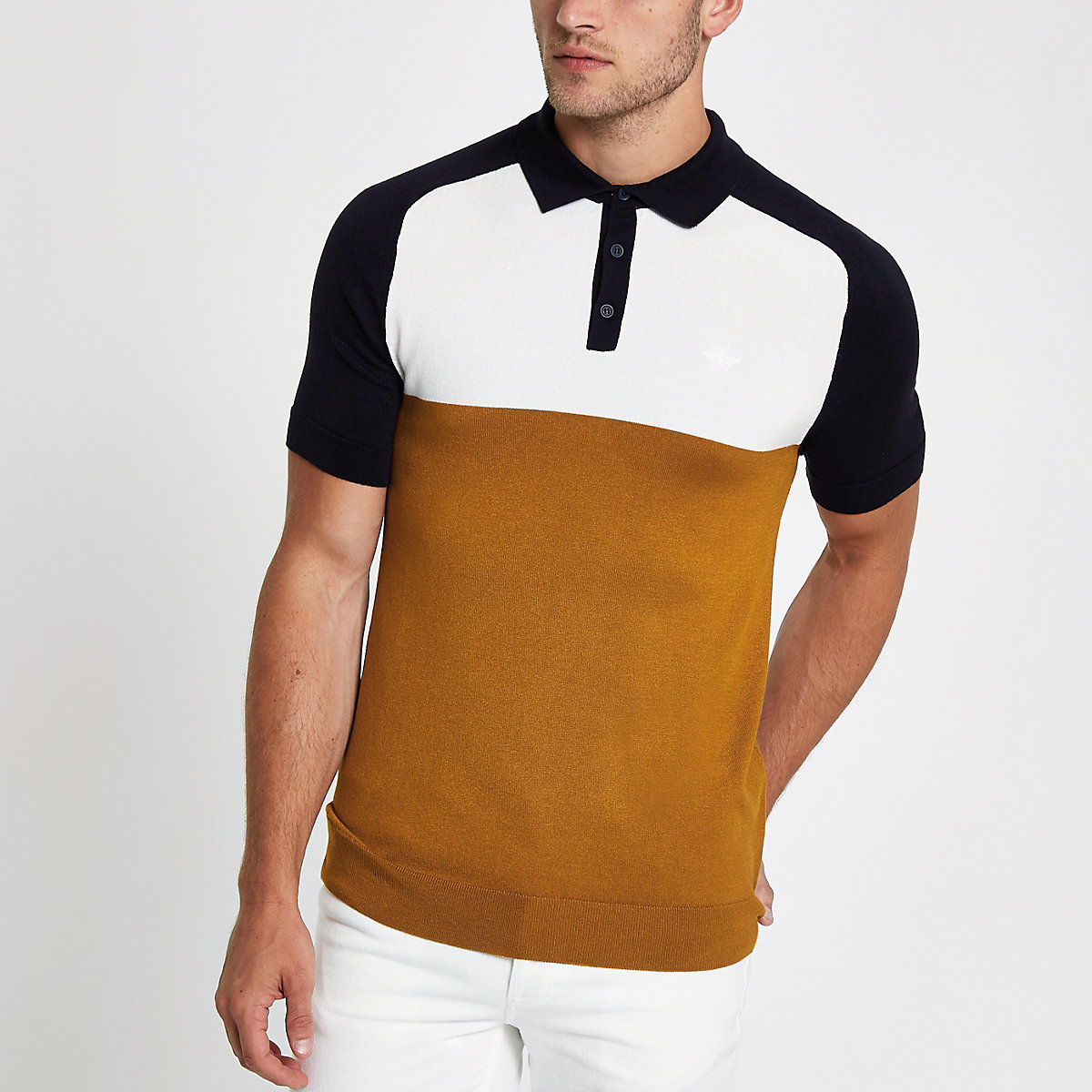Yellow slim fit color block polo shirt