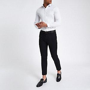Wit slim-fit overhemd met lange mouwen van keperstof