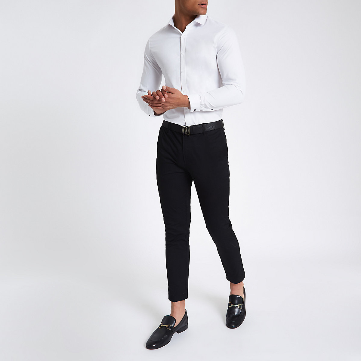 White twill slim fit long sleeve shirt
