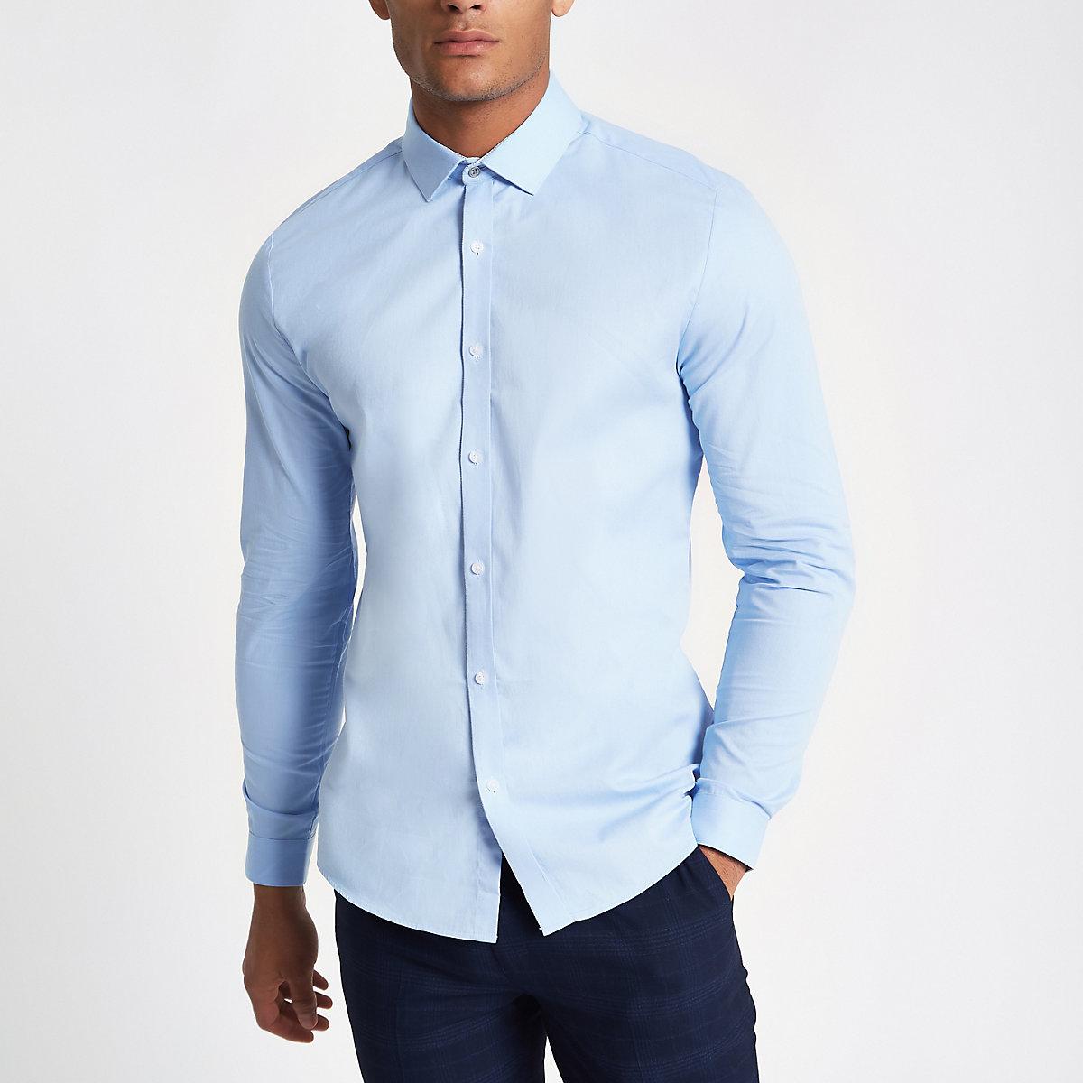Blue twill slim fit long sleeve shirt