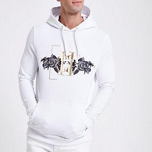 White 'Paris Milan' foil print hoodie