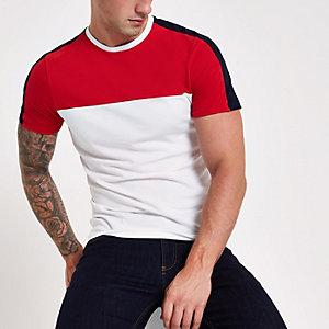 Wit aansluitend T-shirt met blokprint