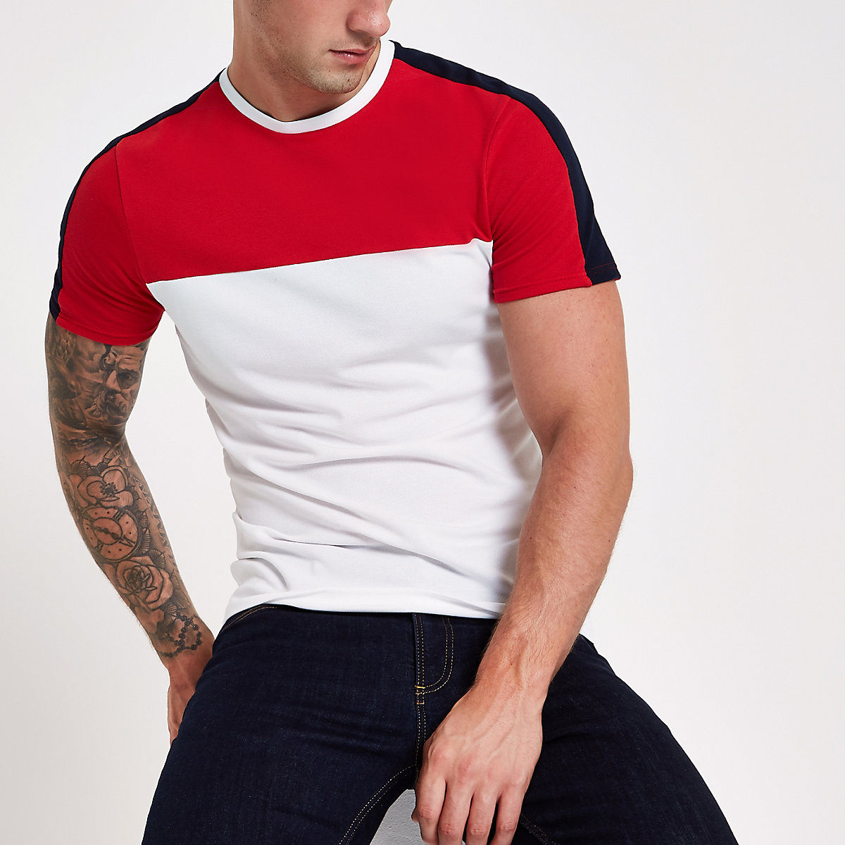 White block print muscle fit T-shirt