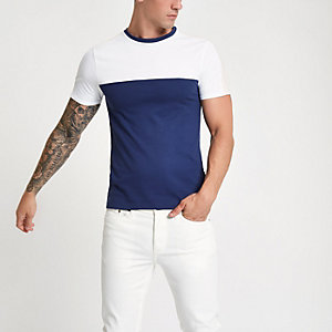 T-shirt ajusté colour block bleu marine