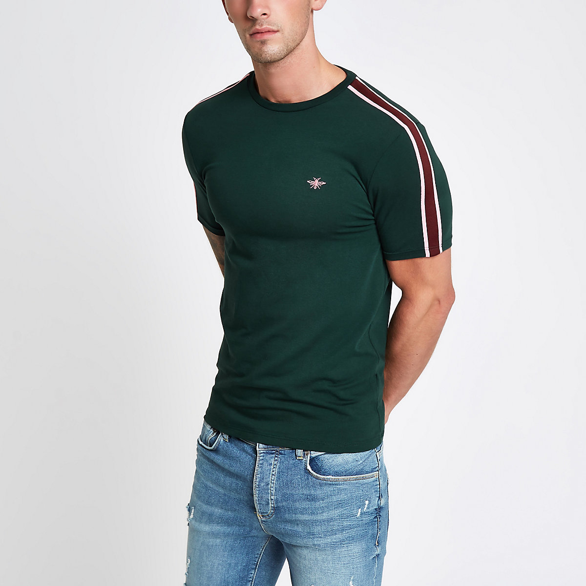 Green wasp muscle fit tape T-shirt