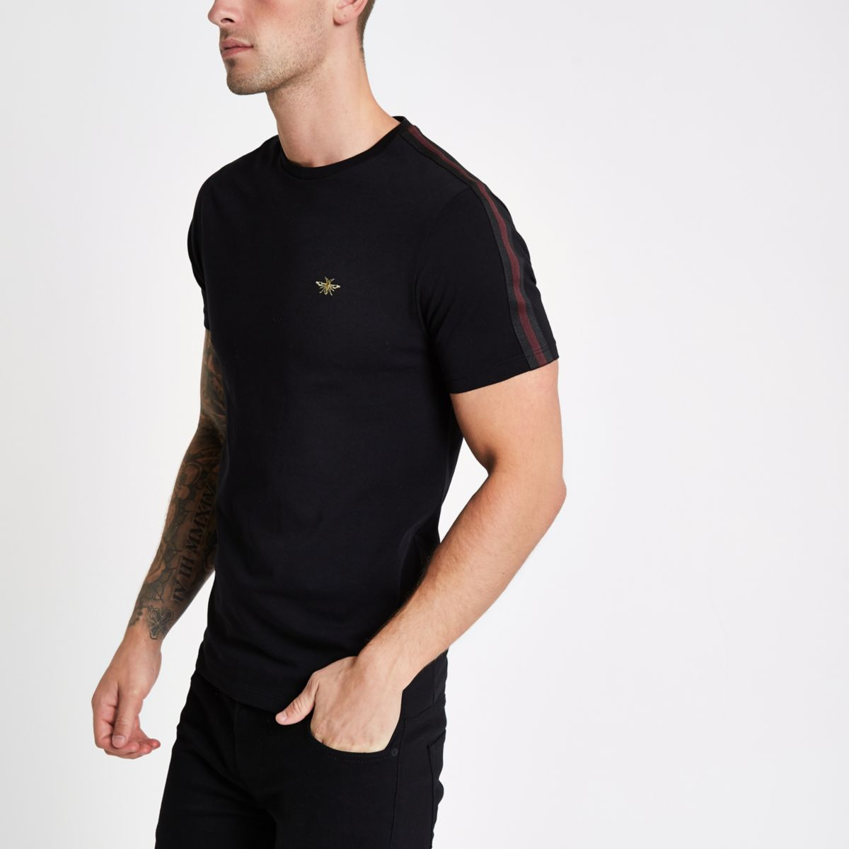 Black Muscle Fit Tape Wasp Embroidery T Shirt by River Island