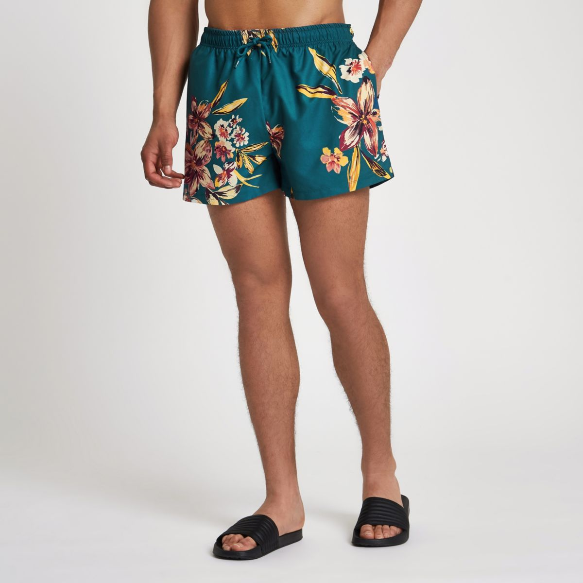 Teal floral print swim shorts