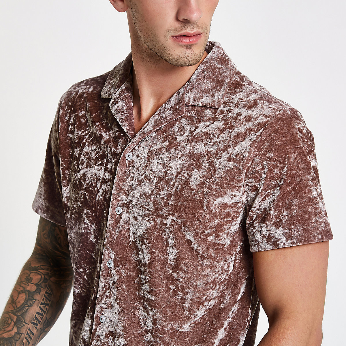 Pink crushed velvet revere shirt