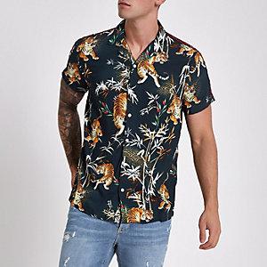 Marineblauw overhemd met bies, tijgerprint en revers